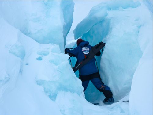 Skiing through sea ice rubble