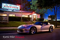 Dodge Viper @ Dom & Phil's DeMarini's (Kayem Dubs) Tags: street blue color building sports colors beautiful beauty car sport azul wisconsin night canon eos amazing colorful long exposure muscle dom fast pizzaria pizza explore milwaukee vehicle dodge viper wi sporty musclecar phils 1dmarkii rt10 explored demarinis ef28135isusm canon1dii