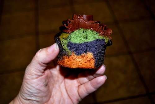 Inside of camoflauge cupcake