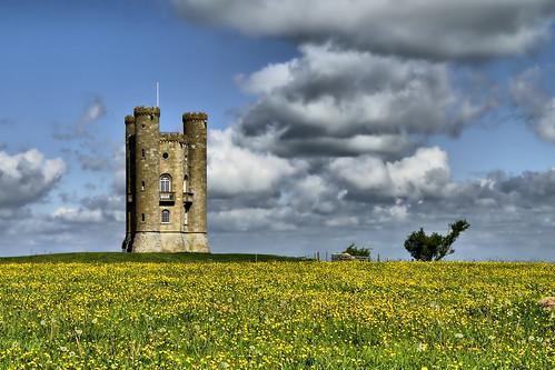 フリー写真素材, 建築・建造物, 塔・タワー, 花畑, イギリス, イングランド, ブロードウェー・タワー,