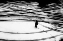 Lonely paths (Icker_Malabares) Tags: road city winter urban white snow black landscape loneliness sad geometry path human emptiness vincenzopisani