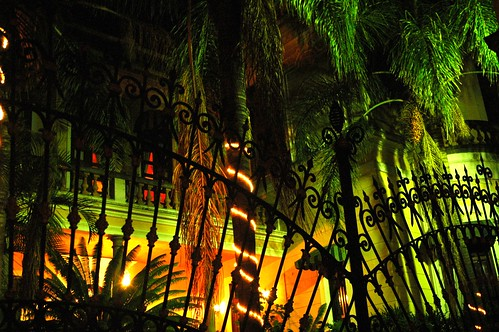 Casa de los Abanicos (House of Fans) building, all dressed up and no place  to go, colored lights, Spanish wrought iron fence, Guadalajara, Jalisco, Mexico by Wonderlane