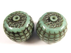 Aqua Pebble Textured Focal Beads