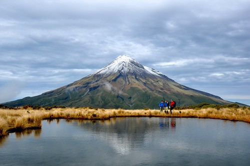 Mount Taranaki and a group of posers