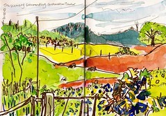 The Landscape surrounding Orchardton Tower. 30/05/10. Sketchbook. (Sue Hodnett) Tags: abstract painting sketch mixedmedia sketchbook northumberland watercolour expressive colourful allendale dumfriesandgalloway hexham suehodnett