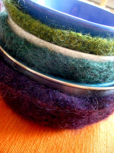 felted bowls - shaping.