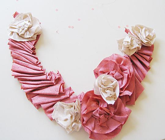 Silk Flower Necklace DIY -4