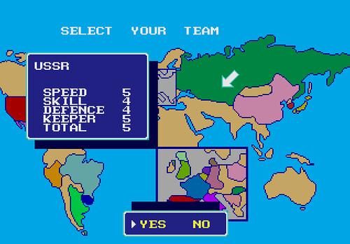 Captura de Italia 90 seleccionando la URSS para jugar