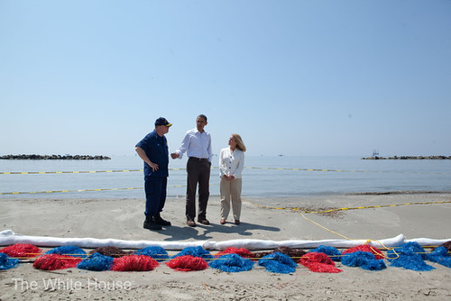 Prez Obama looks at the effect the BP oil spill has had on Fourchon Beach