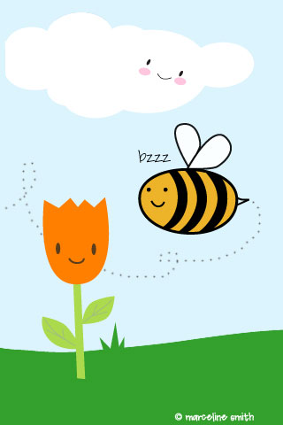 bee and tulip iPhone wallpaper