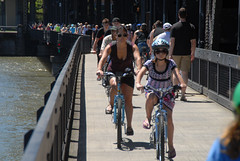 Bike traffic, Steel Bridge, sunny Saturday-3