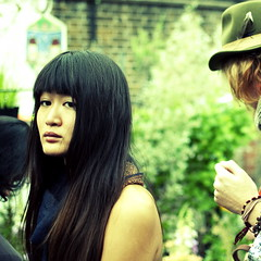Dark Eyes (Chris JL) Tags: street uk portrait color colour london beauty asian photo candid femme streetphotography shoreditch melancholy gaze glance flowermarket columbiaroad e2c londoners darkeyes nikond90 hatandfeather nikkor35mmf18g chrisjl