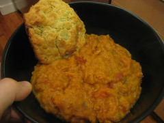 Red lentil soup and blue cheese scallion biscuit