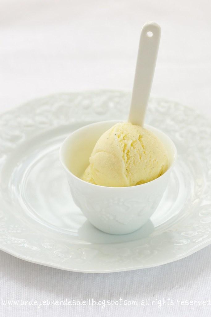 White chocolate and orange blossom ice-cream