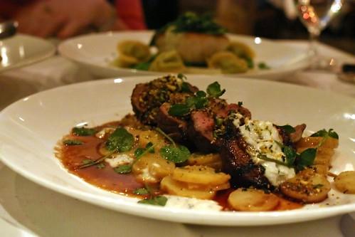 sous-vide leg of lamb; fingerling potatoes, cipollini, beets, bagna cauda, pistachio gremolata, goat cheese vinaigrette