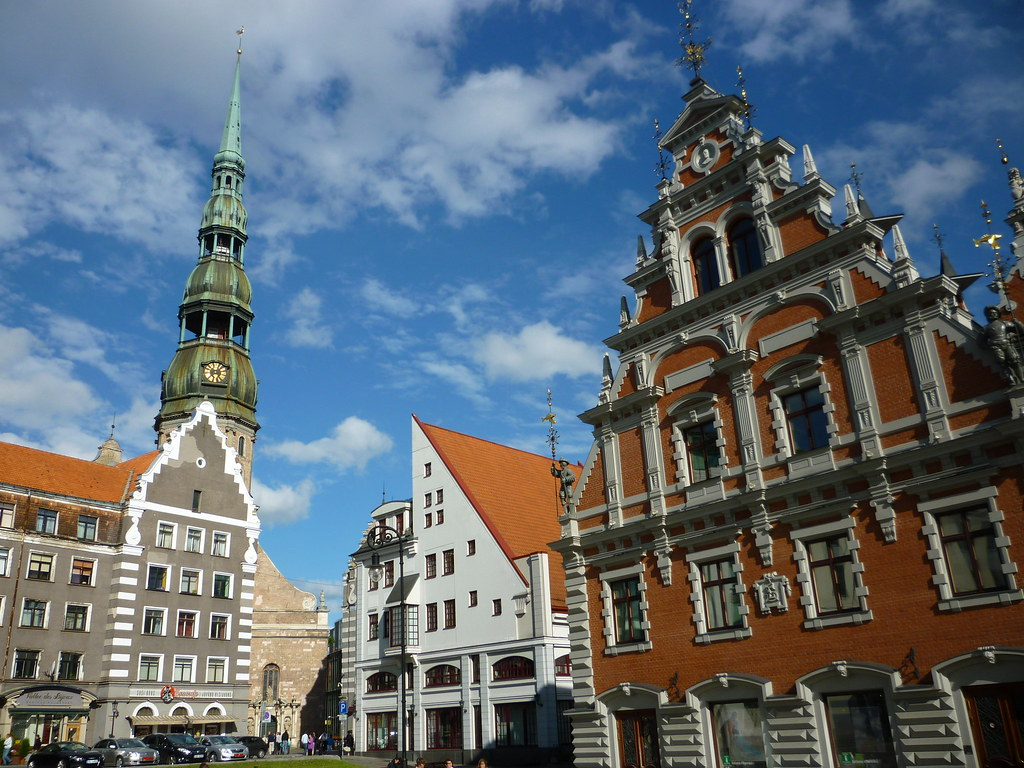 St Peter's Church in the background, Riga, Latvia