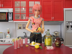 Making lemonade (MurderWithMirrors) Tags: glass miniature lemon doll knife plate lemonade sugar honey rement miele torrance momoko mwm petworks 04nf rementmultiplicity o4nf