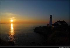 Twilight (ShacklefordPhotoArt) Tags: ocean sky lighthouse sunrise scenery maine newengland atlanticocean capeelizabeth southportand