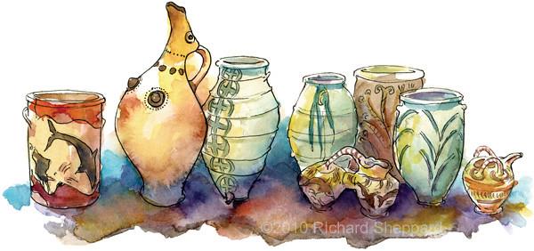 Akrotiri Ceramic Vessels, Santorini, Greece