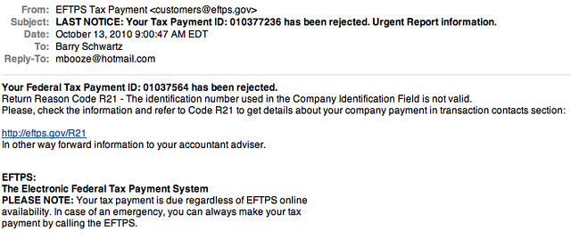 EFTPS Phishing Emails