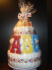 ABC Diaper Cake- wrapped (kelli.bergin) Tags: blue red baby cute yellow diy unique crafts wrapped abc blocks diapers babyshower cellophane diapercake uniquegift nappycake uniquebabygifts uniquebabygift abcdiapercake