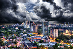 End of Days (Ride My Pony Photography) Tags: toronto rooftop clouds photography dusk balcony dvp birdseyeview hdr stormysky cityskyline broadview donvalleyparkway endofsummer charlesbodi torontohdr ridemypony
