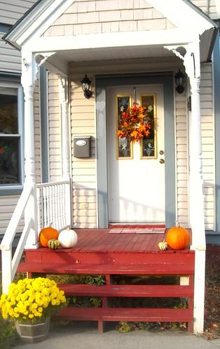Autumn decorated porch