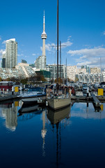 Still water reflections of West Harbourfront (PJMixer) Tags: toronto nikon downtown nikon1855mm nikond80