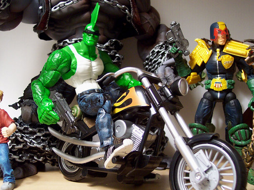 Savage Dragon on bike