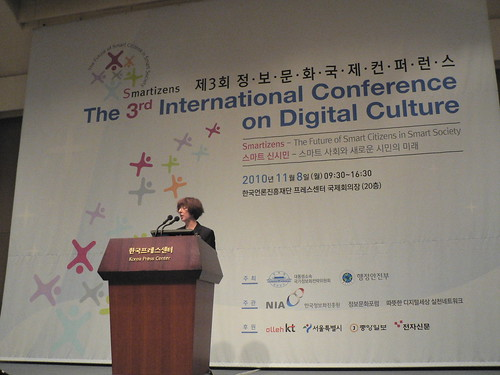 Professor Leslie Tkach-Kawasaki speaks at the NIA Digital Culture Conference, Seoul, Korea