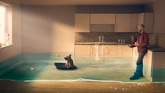 We make the world we live in (Logan Fox) Tags: global warming risingsealevels miniature diorama dog man kitchen evening light floating can canon 6d