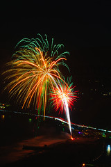 45 (morgan@morgangenser.com) Tags: pacificpalisaddes beach belairbayclub blue celebrate fireworks color iso100 july3rd loud nikon night ocean orange pch people red reflection special spectacular streaks timeexposire tripod yellow amazing