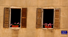 Passage De La Cathedrale (acwills2014) Tags: windows shutters french rustic charm flowers windowswednesdays walls sign annecy