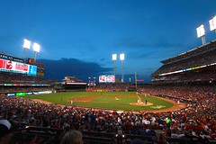 Chicago Cubs at Cincinnati Reds (dangaken) Tags: cincinnatireds ohio oh cincinnati reds cubs nlcentral nationalleague majorleaguebaseball baseball greatamericanballpark cubsroadgame cubsatreds cubsvreds worldseries worldserieschampions ohioriver riverfront cincinnatiriverfront cincy mlb wideangle canon1022mm 1022 dusk night nightgame bluehour
