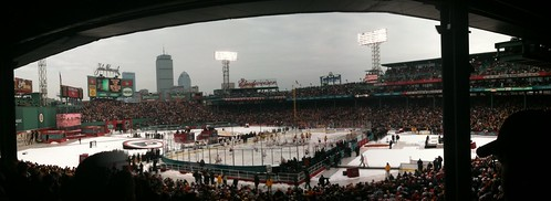 Panorama of Fenway Park at the Winter Classic on January 1, 2010