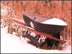 October Wheelbarrow (#982) (protophotogsl) Tags: pink red snow field garden october warm wintergarden wheelbarrow protophotogsl mygearandmepremium img4875amtneg97hue180satneg59autobright mygearandme~4awardthread beautifulshot~1awardthread