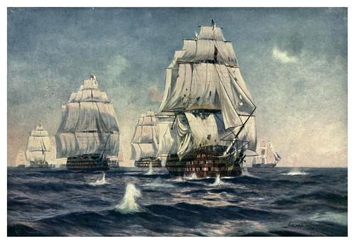 006- El buque insignia de Lord Nelson en primera linea de la batalla de Trafalgar octubre 1805-The Royal Navy (1907)- Norman L. Wilkinson