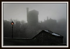 Into the mist of time.... (obnoreen) Tags: bridge light shadow mist castle silhouette fog grey fishing foggy blackwater lismore digitalcameraclub obnoreen