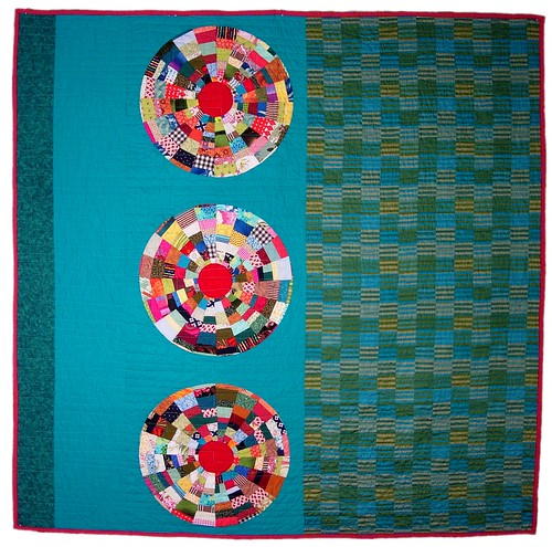 Turquoise Circles Quilt Front by Peppermint Pinwheels