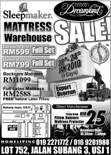Mattress Warehouse Sale 22-24 jan