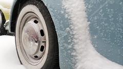 snowy blue (Le dimanche indolent) Tags: blue snow reflection wheel azul steel w bleu neige rim brillante wolkswagen