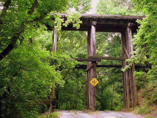 Drive under a huge train bridge