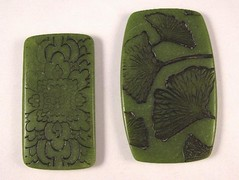 "Faux Jade Series - Dark Green ""Jadeite"" Architectural Detail and Gingko Leaves"