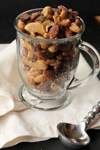 Roasted Nuts with Rosemary and Shallots - nuts in mug