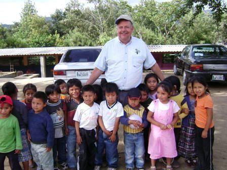 Guatemala shoe donation - School kids with Bob