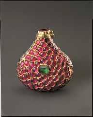 Treasury of the World - Small bottle set with rubies, emeralds and diamond crystals