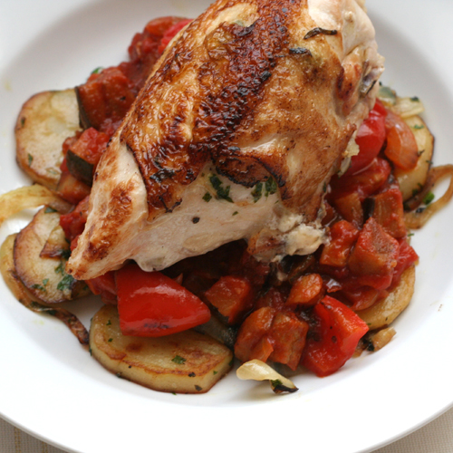 chicken with ratatouille & crispy potatoes