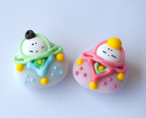 Hina doll shaped candies from Japan
