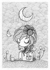 goodbye (Anita Mejia) Tags: old trip moon girl birds illustration night fly sad traditionalart sketchbook goodbye suitcase inks chocolatita anitamejia entrevistailustracion