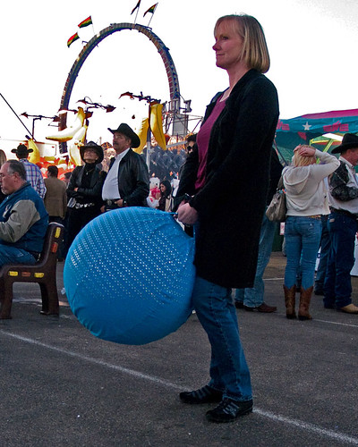 Carnival woman with blue ball